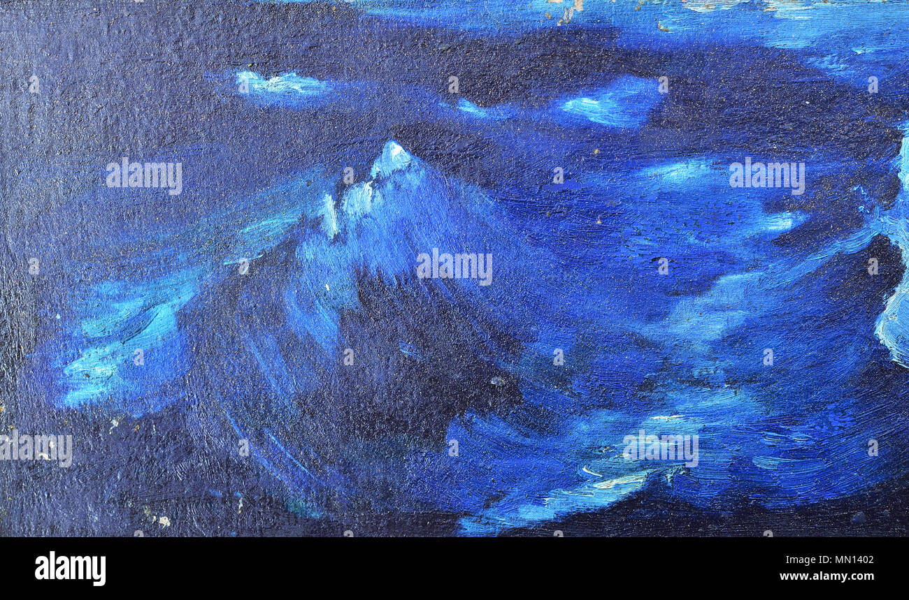 Dark Blue Waves Painted Watercolor On Canvas Texture Background Wallpaper