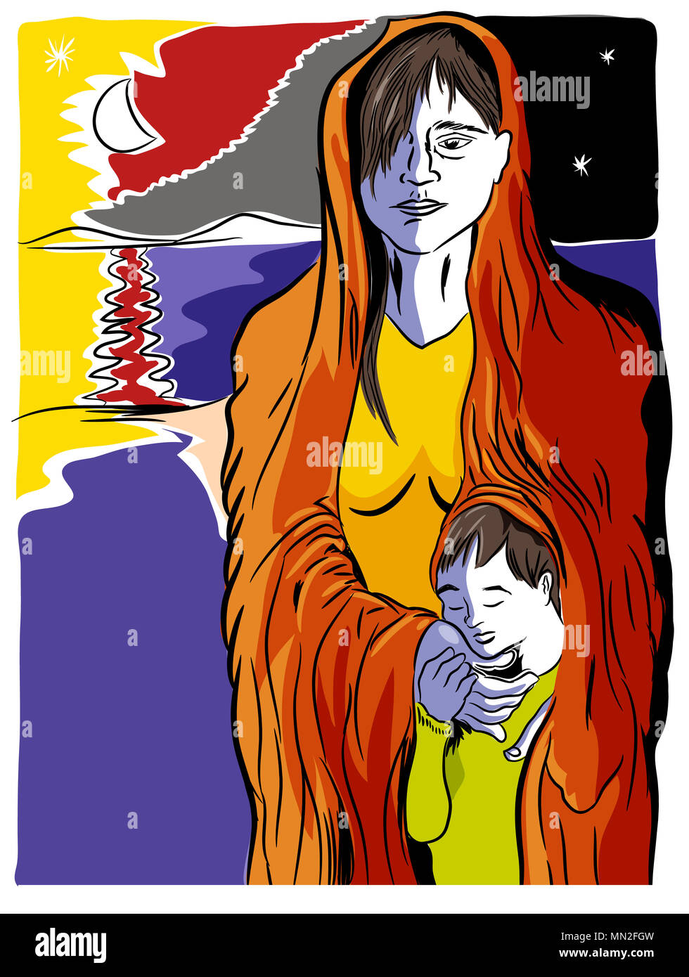 Refugees problem.  Mother and child refugees foreigners immigrants near the sea. - Stock Image