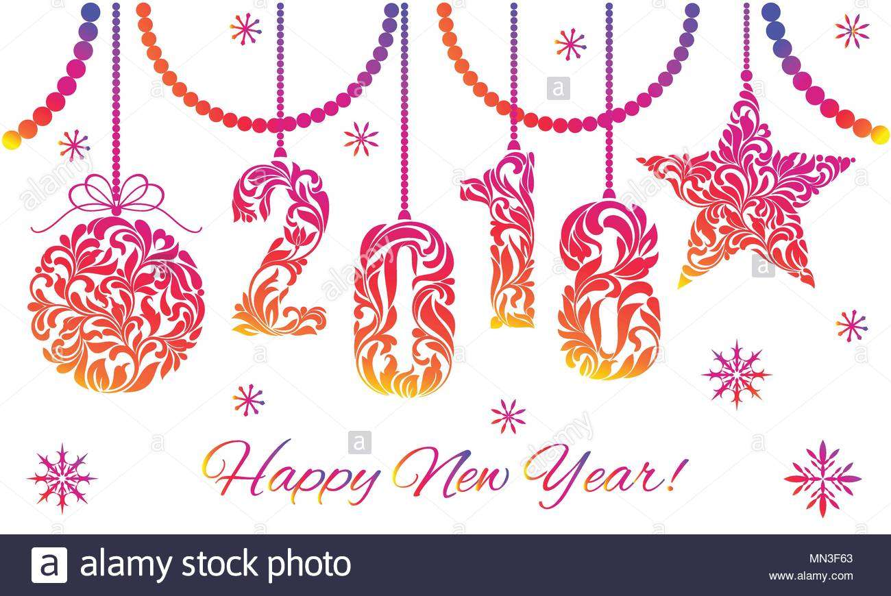 Greeting Card Happy New Year Digits 2018 Made Of Floral Elements