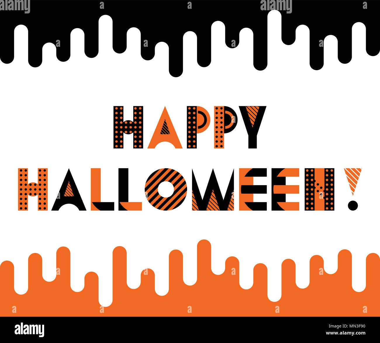 happy halloween trendy geometric font in memphis style of 80s 90s inscription isolated on white background