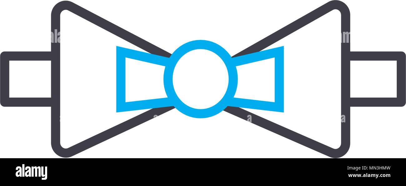 Bow Tie Vector Thin Line Stroke Icon Bow Tie Outline Illustration