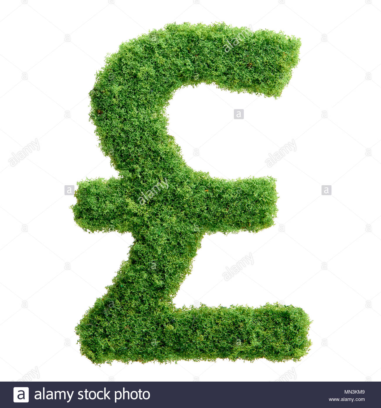 Grass Growing In The Shape Of British Pound Symbol Clean Eco