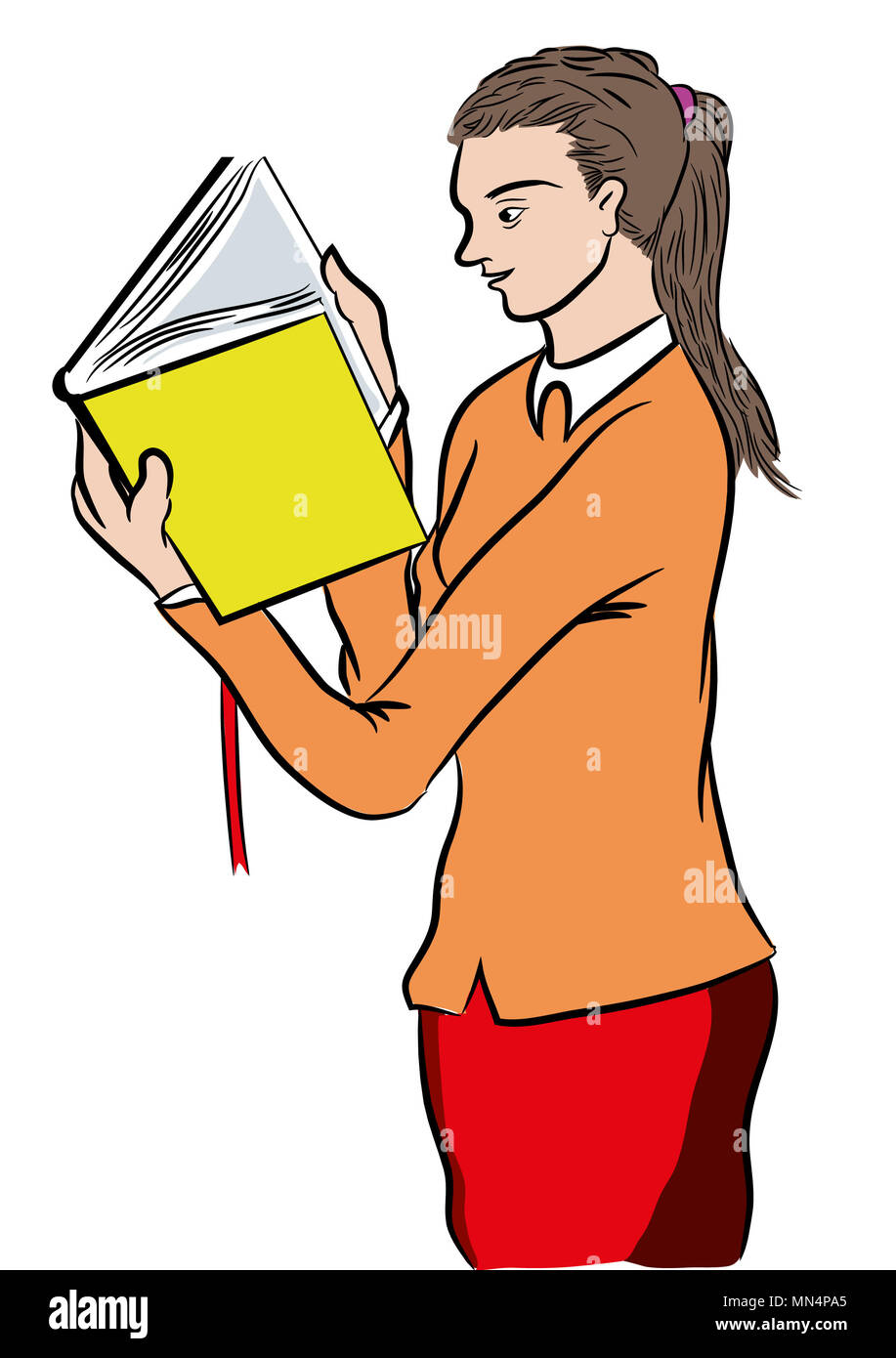 Girl reading a bestseller book.  Standing girl reading a book. Young girl reading excited book. Learning new informations. - Stock Image