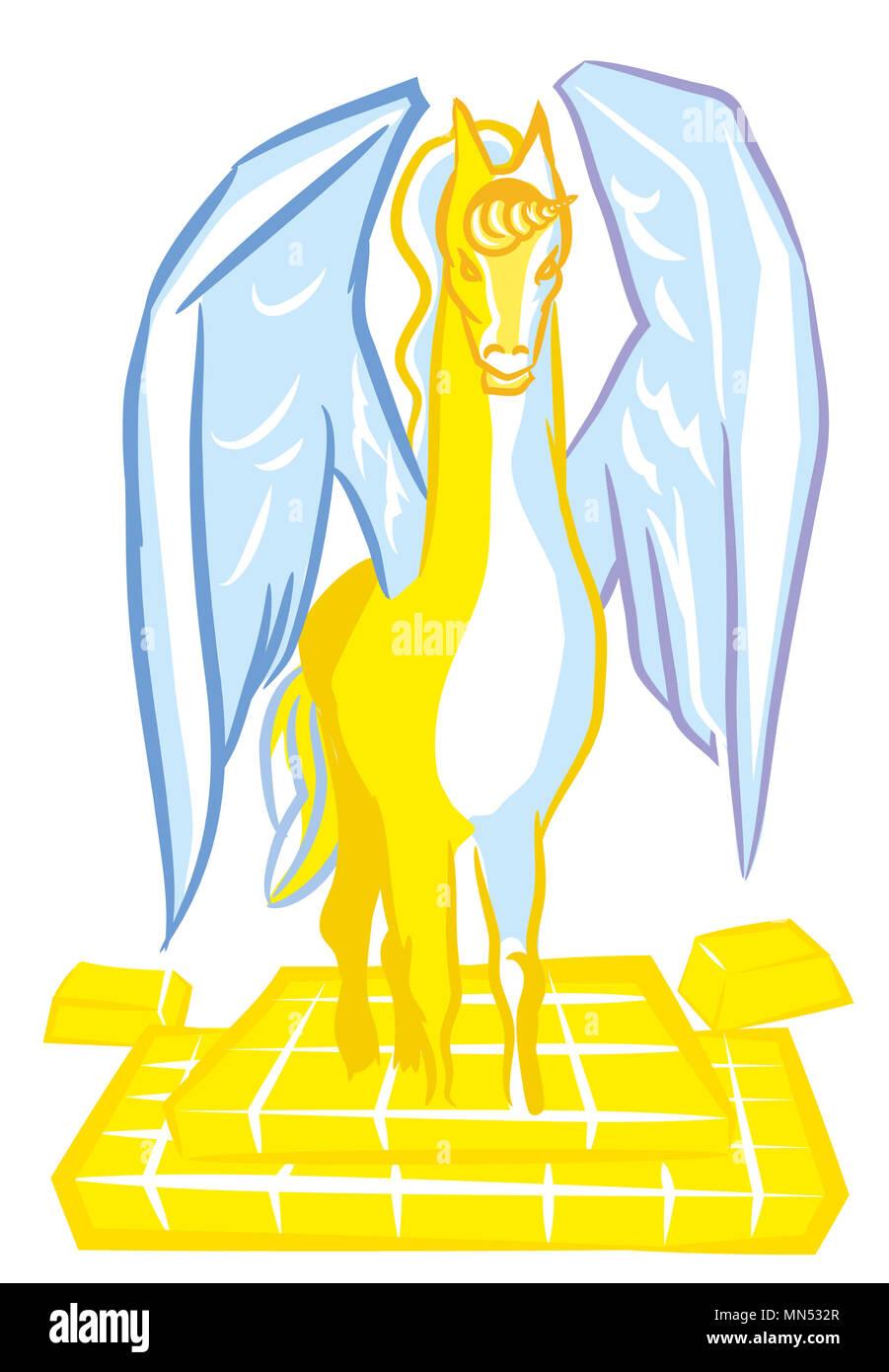 Unicorn startup with gold bullion.  Billion-dollar startups for business life. - Stock Image