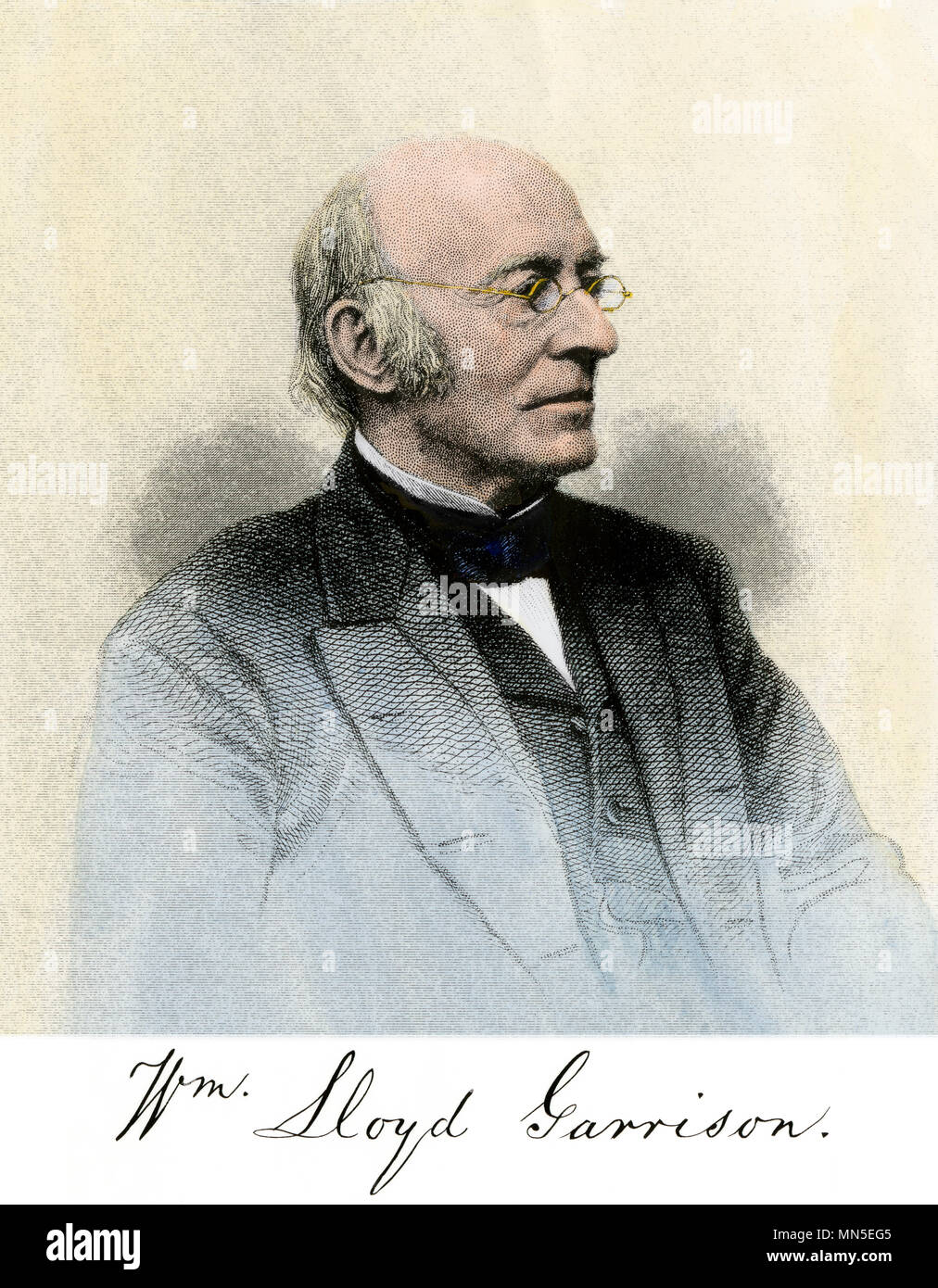 William Lloyd Garrison, portrait with autograph. Hand-colored engraving - Stock Image
