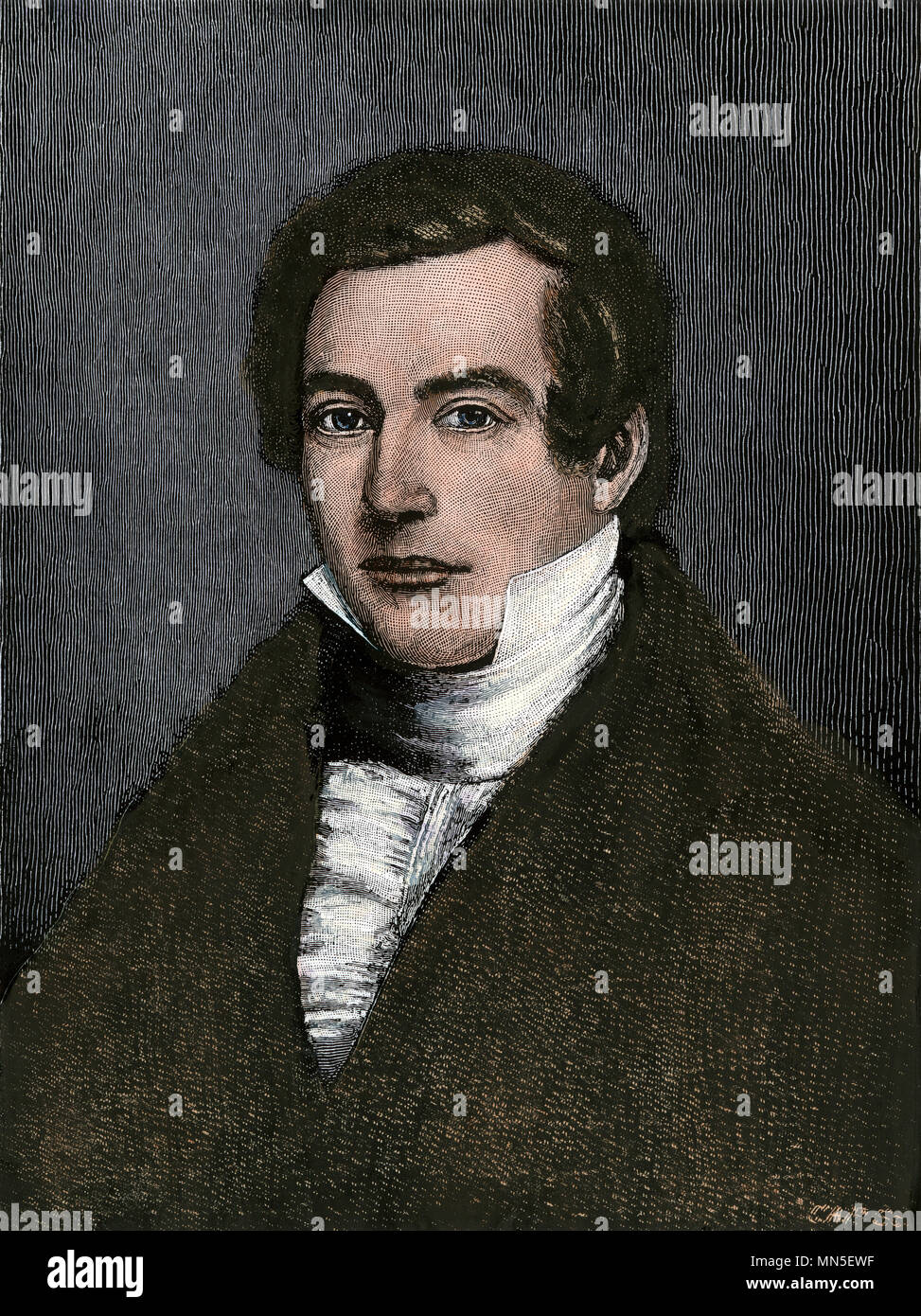 William Lloyd Garrison when a young man. Hand-colored woodcut from a portrait by Swain - Stock Image
