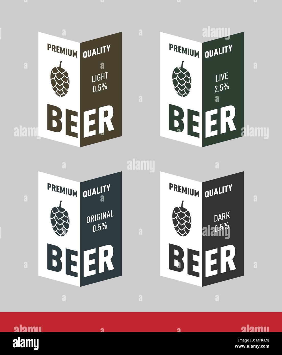 Beer Label with hop Design vector template set Stock Vector Art ...