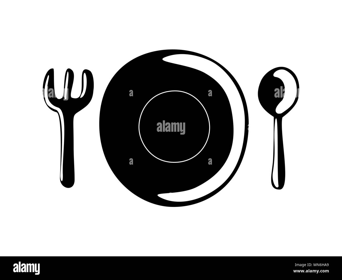 Plate Spoon Fork Cooking Symbol Vector Stock Vector Art