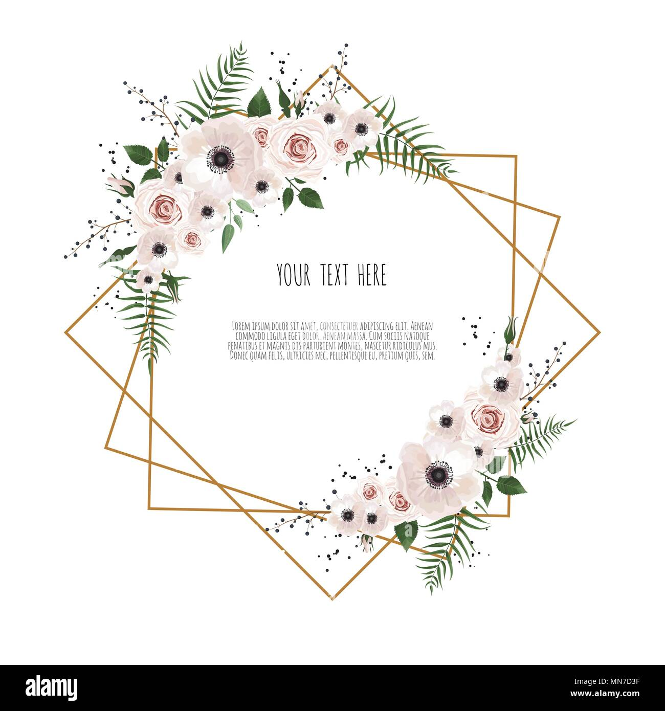 card with flowers and geometrical frame floral poster invite vector decorative greeting card invitation design background