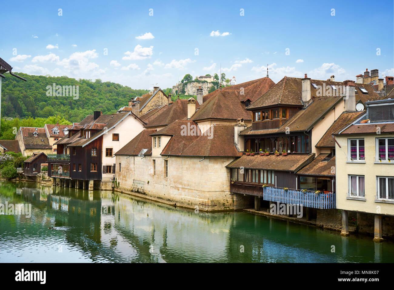 Ornans Cityscape Aside Loue River - Doubs - France - Stock Image