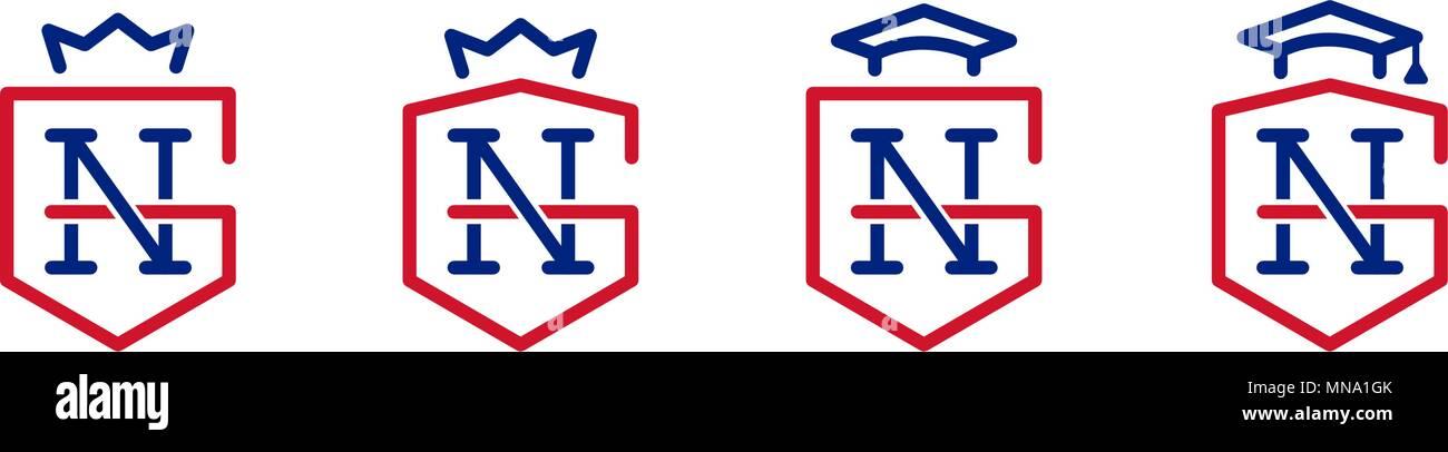 Gn Monogram G N Letter Company Name Royal Symbols For Education