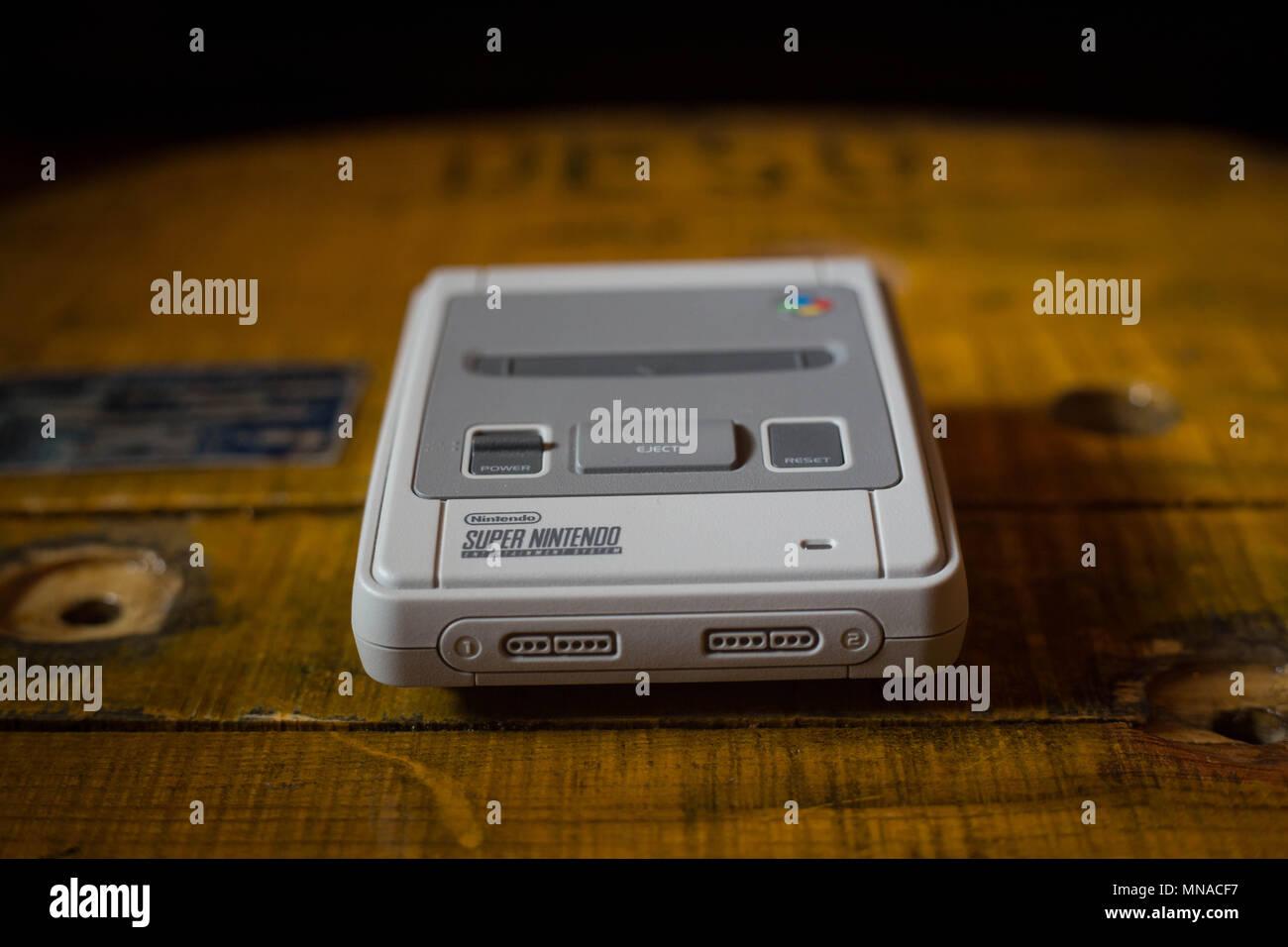 A Nintendo Classic Mini Super Nintendo Video Game Console The
