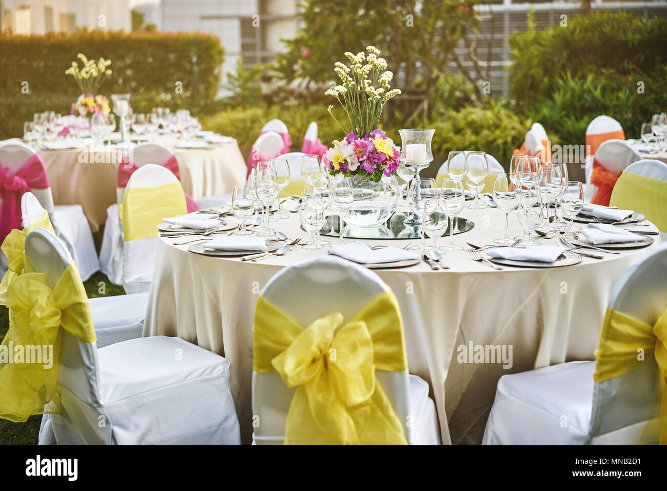 Wedding Reception Dinner Table Setting With Empty Glasses Of Water