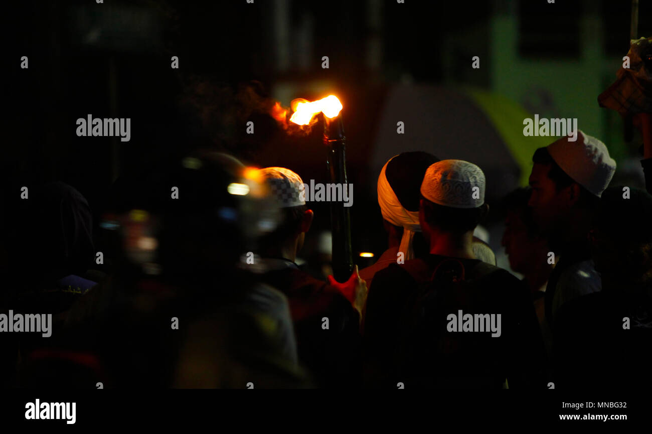 bogor indonesia 14th may 2018 muslims hold a torch during the parade