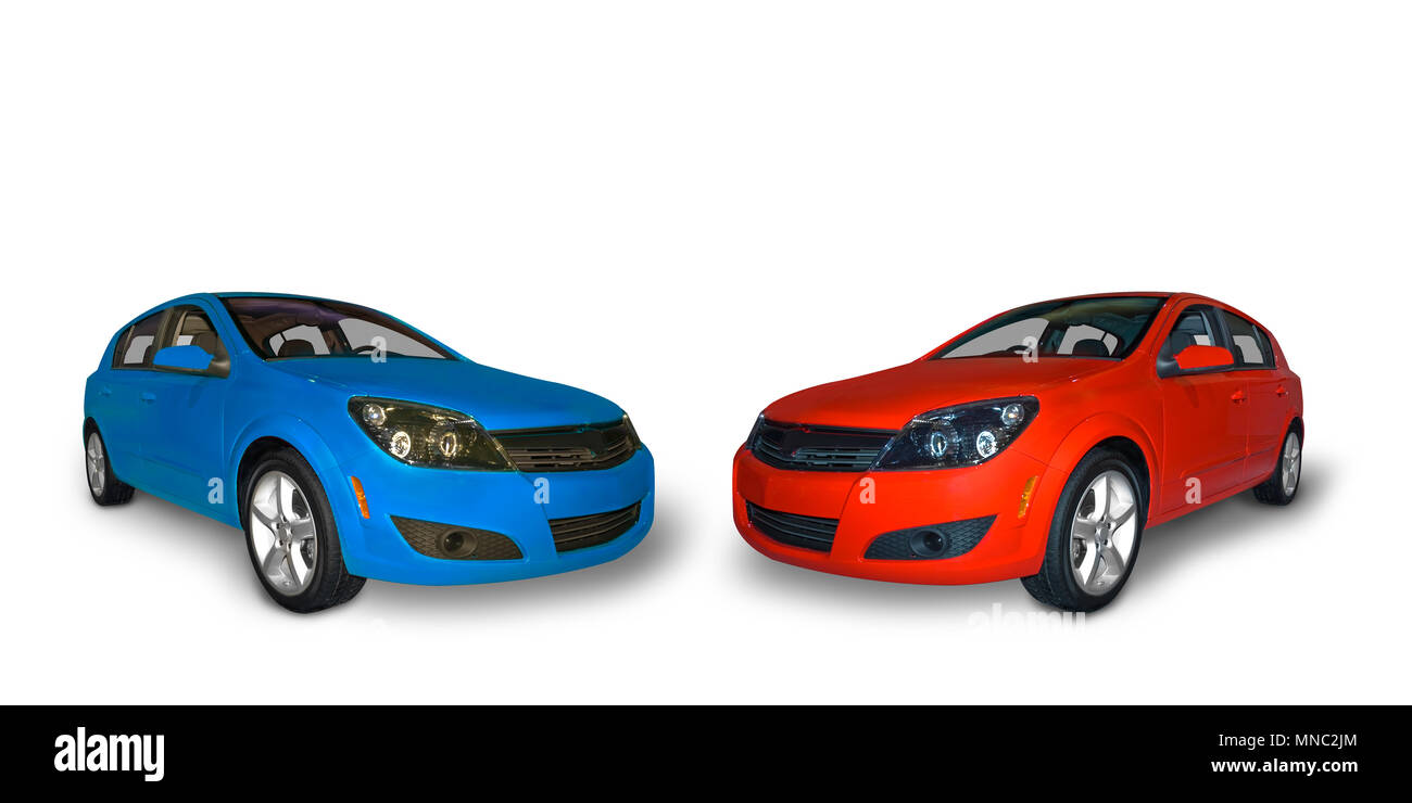 Bright red and a bright blue four door compact  hybrid cars isolated on a white background. A realistic shadow under the car is included. - Stock Image