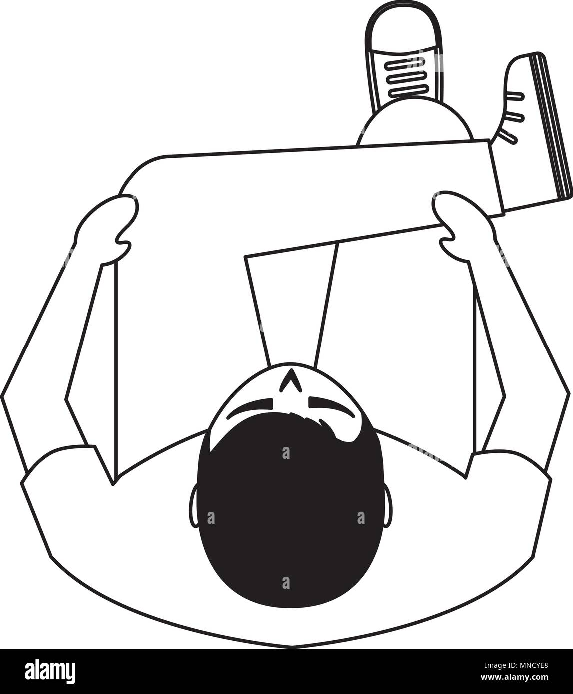 Man Is Sitting On Sofa View From Above Vector Illustration Stock