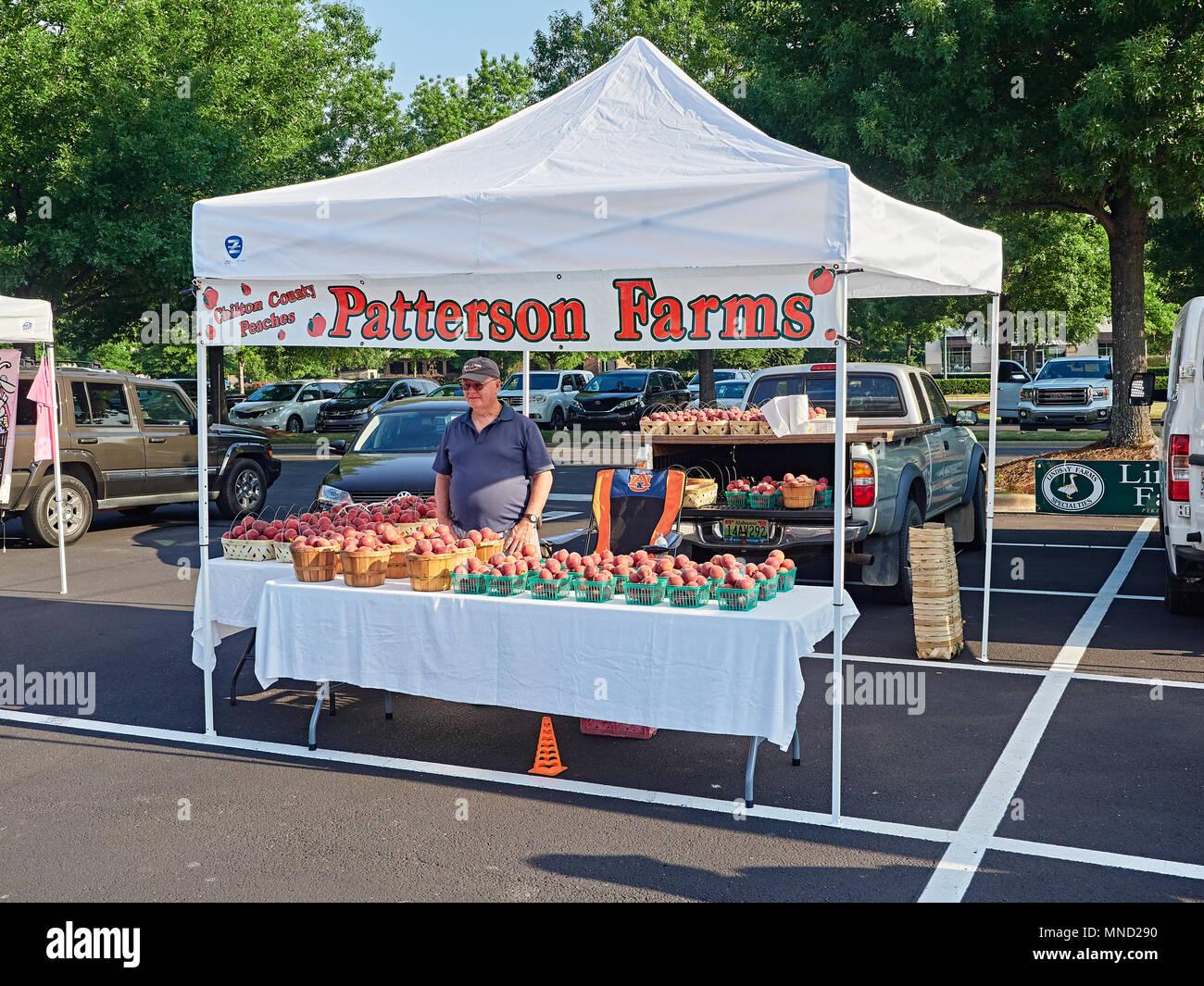 Peach farmer selling fresh peaches as a vendor at a local farmer's market in Montgomery Alabama, USA. - Stock Image