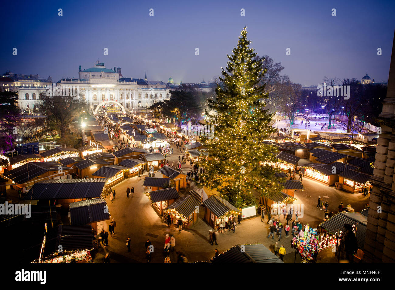 Vienna traditional Christmas Market 2016, aerial view at blue hour (sunset). Wien, Austria, Europe. - Stock Image