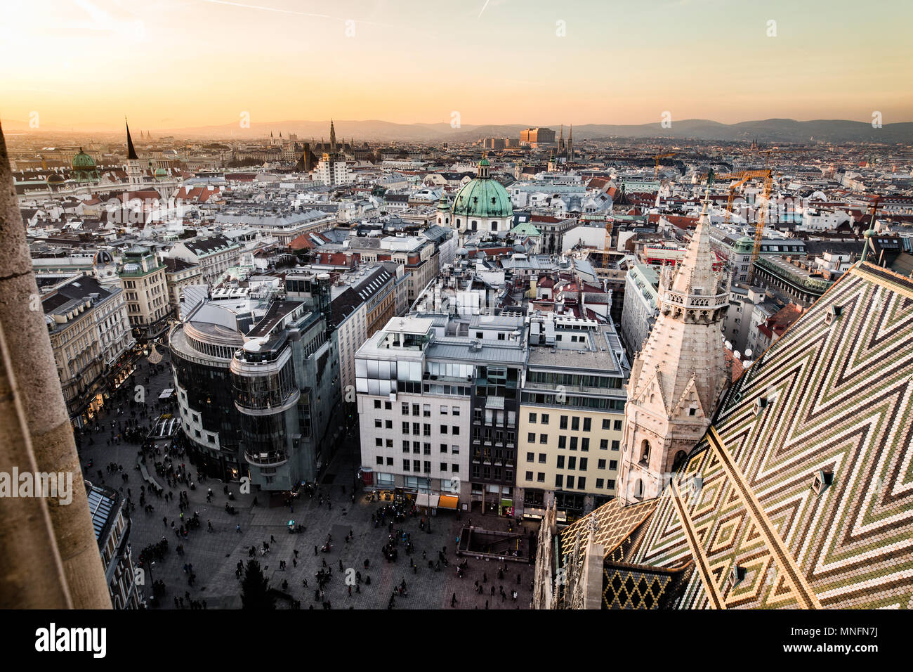 Wien city skyline as seen from the top of St. Stephan dome - Stock Image