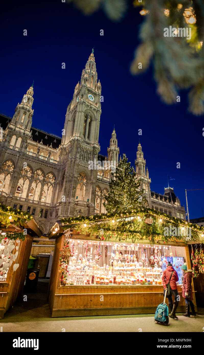VIENNA, AUSTRIA - 6 DECEMBER 2016: Christmas market in fornt of the City Hall (Rathaus), Austria, Wien - Stock Image