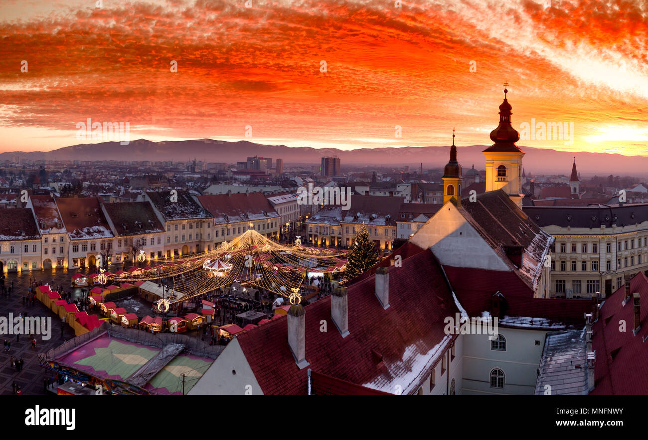 Sibiu Christmas Market at sunset in Transylvania, Romania, 2016. HDR Photography - Stock Image