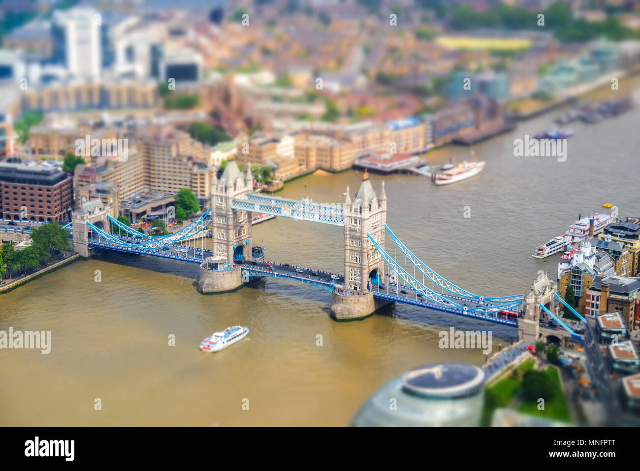 London Tower bridge seen from above. Tilt-shift effect applied. - Stock Image