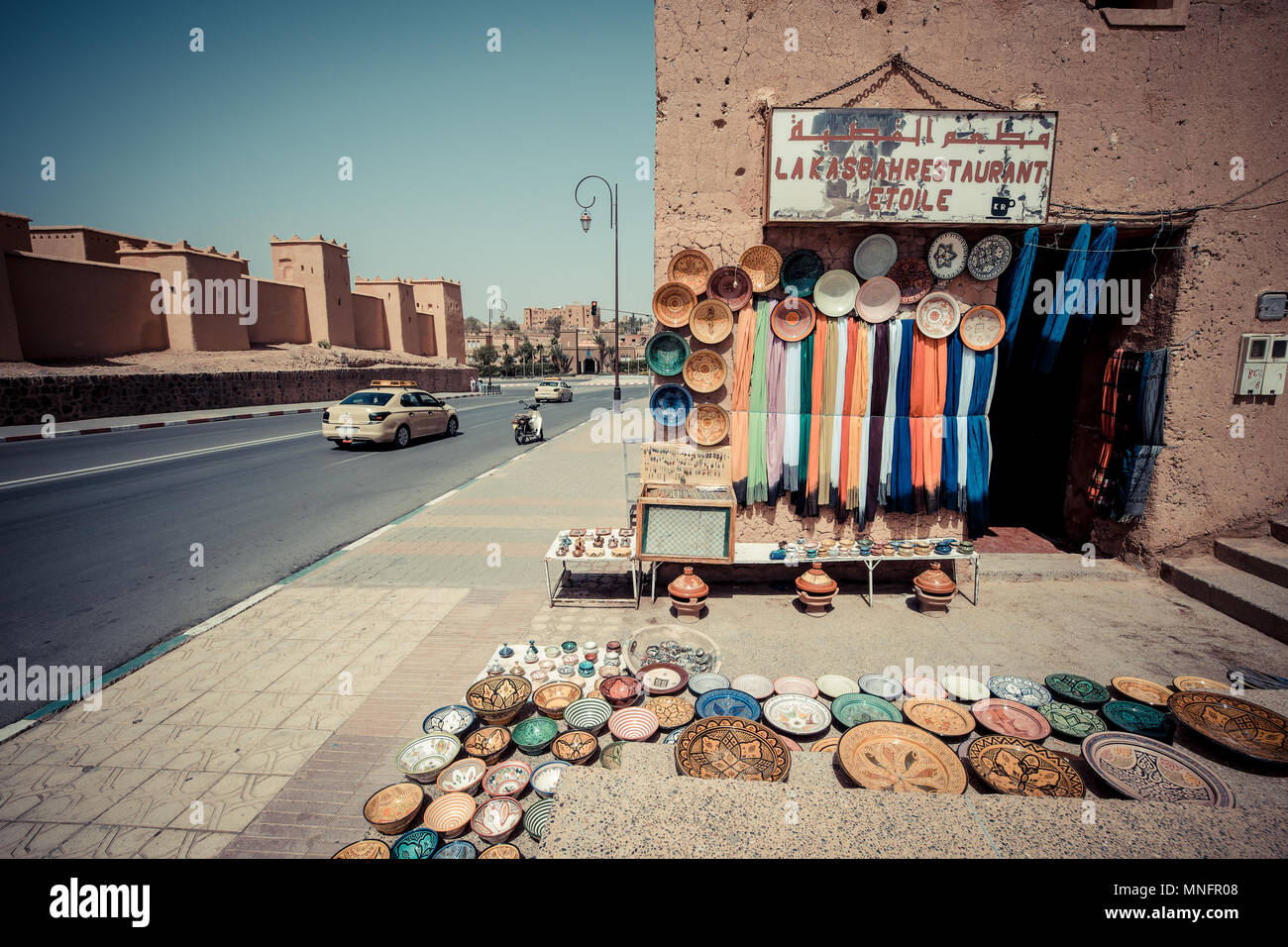 OUARZAZATE, MOROCCO, JUNE 2016: traditional shop in the old market. Street vendor in the old medina - Stock Image
