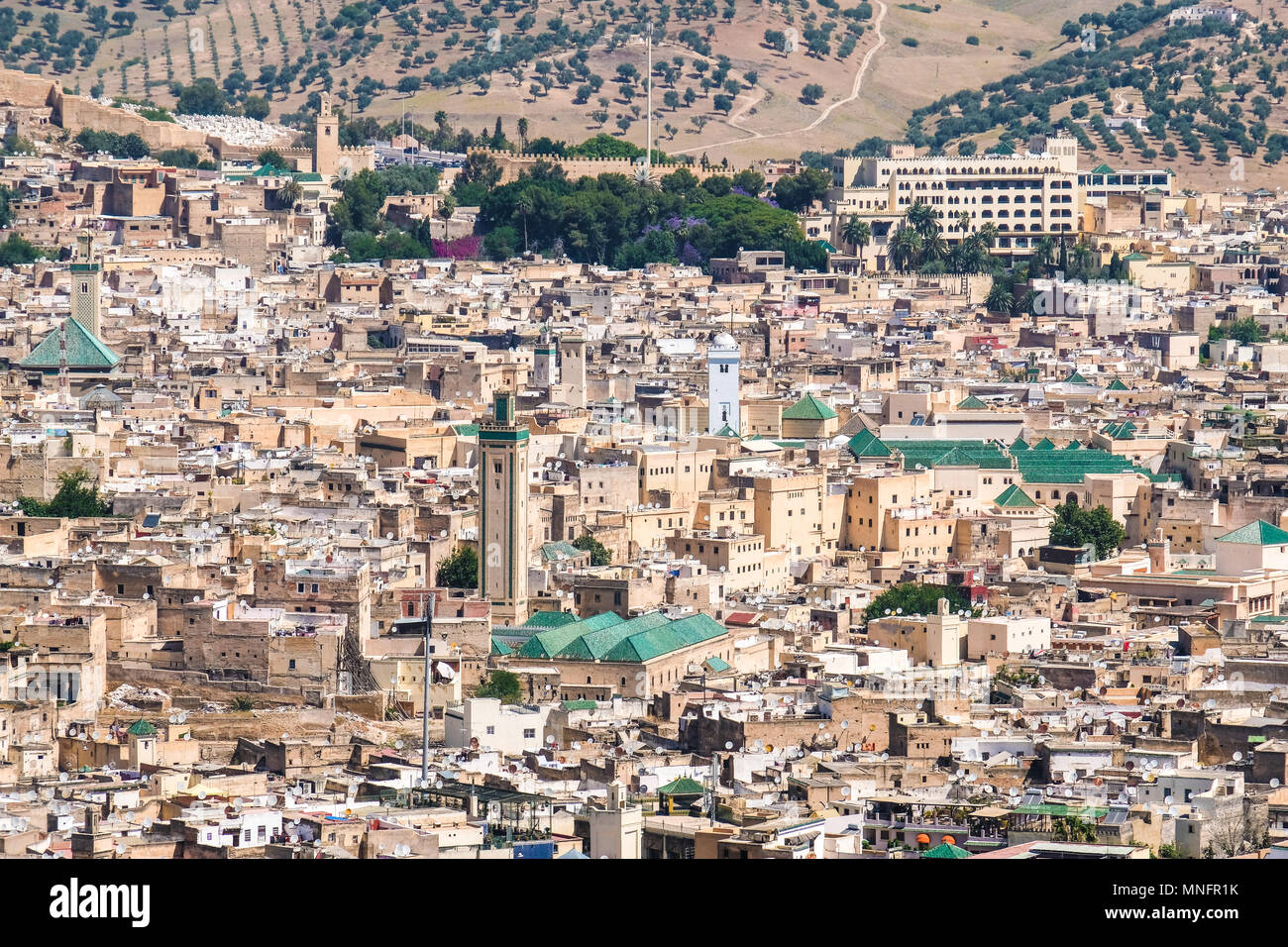 Traditional islamic architecture in Fez - Morocco. Panoramic view over the old medina. - Stock Image