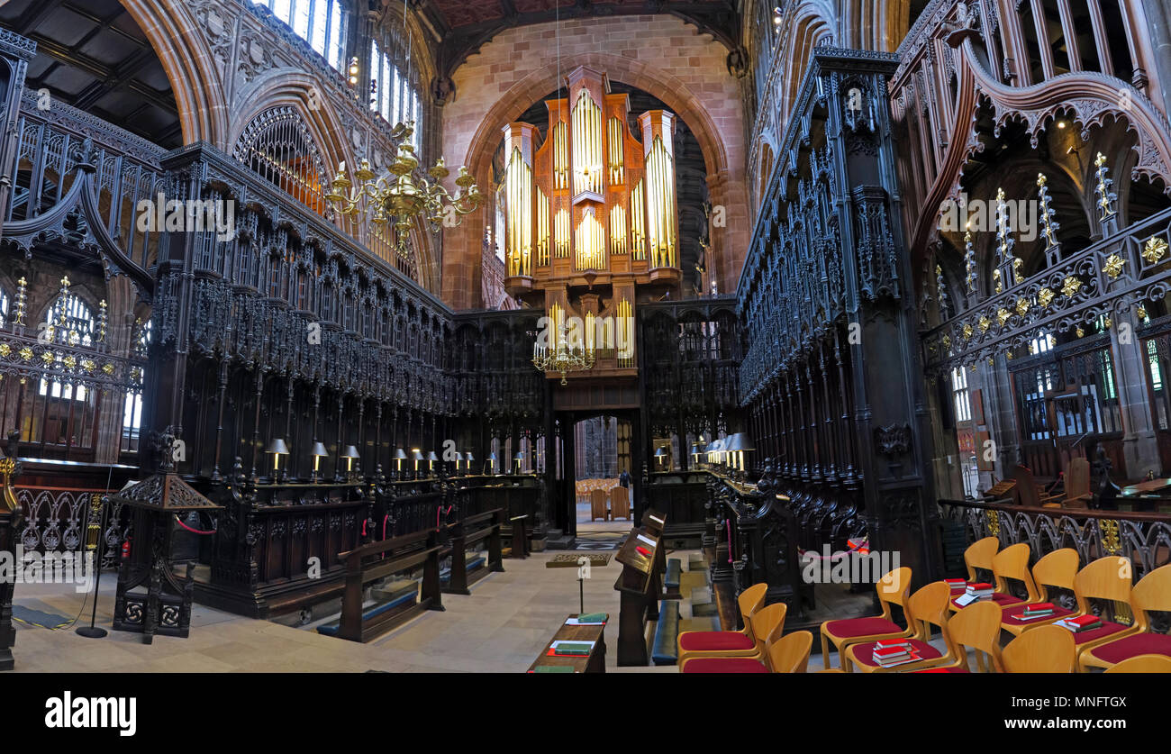 @HotpixUK,Gotonysmith,Manchester Cathedral Choir Panorama,England,UK,inside,interior,wood,carved,stone,stonework,Choirs,Collegiate Church of St Mary,Church,Gothic,style,Building,furnishings,wooden,stall,wide,wide shot,wideshot,Grade I,Grade1,listed,Anglican Cathedral,Misericords