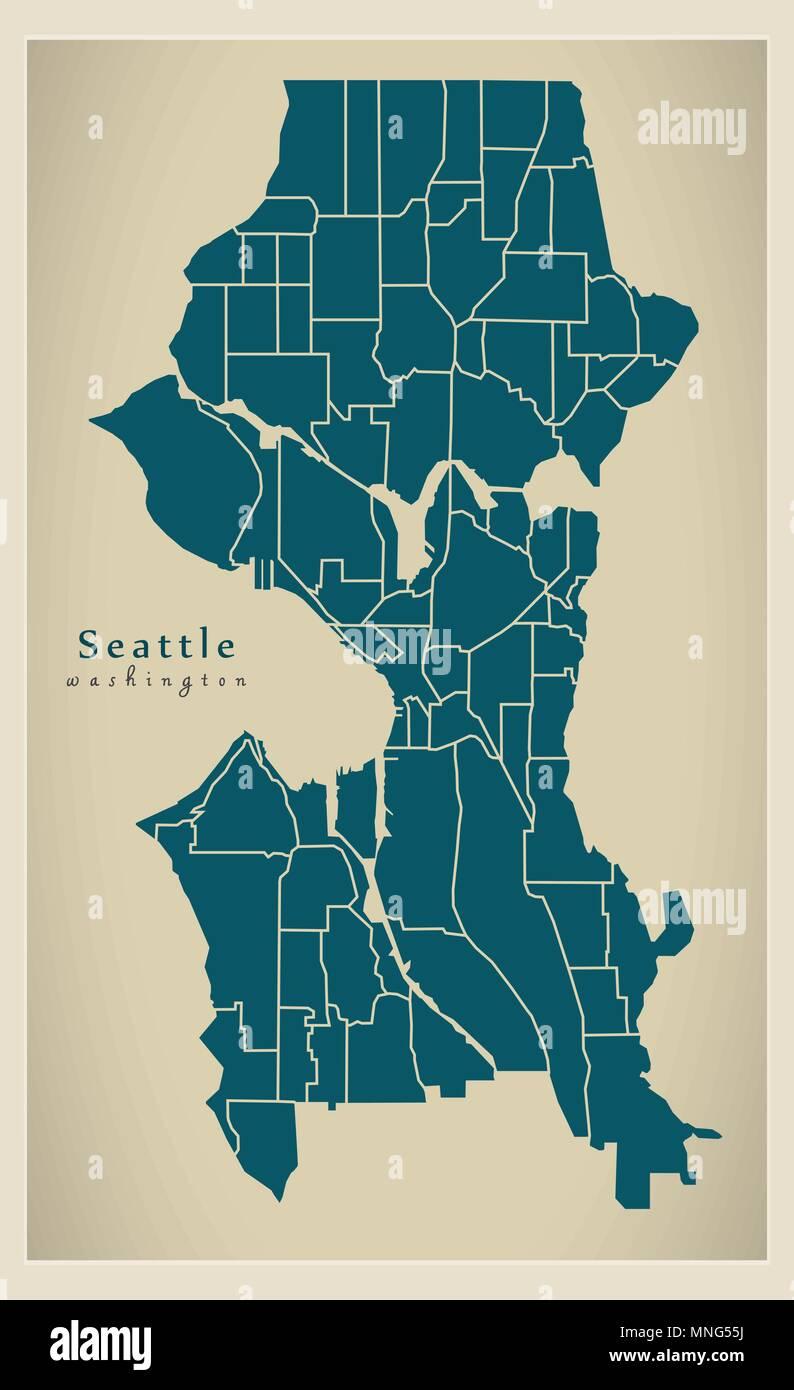 Modern City Map Seattle Washington City Of The Usa With