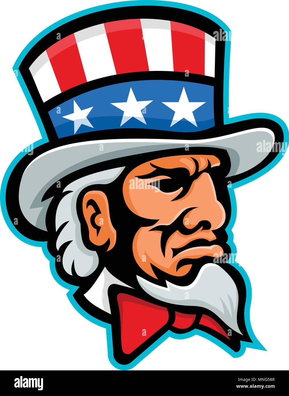 Mascot Icon Illustration Of Head Of Uncle Sam A Popular Symbol Of