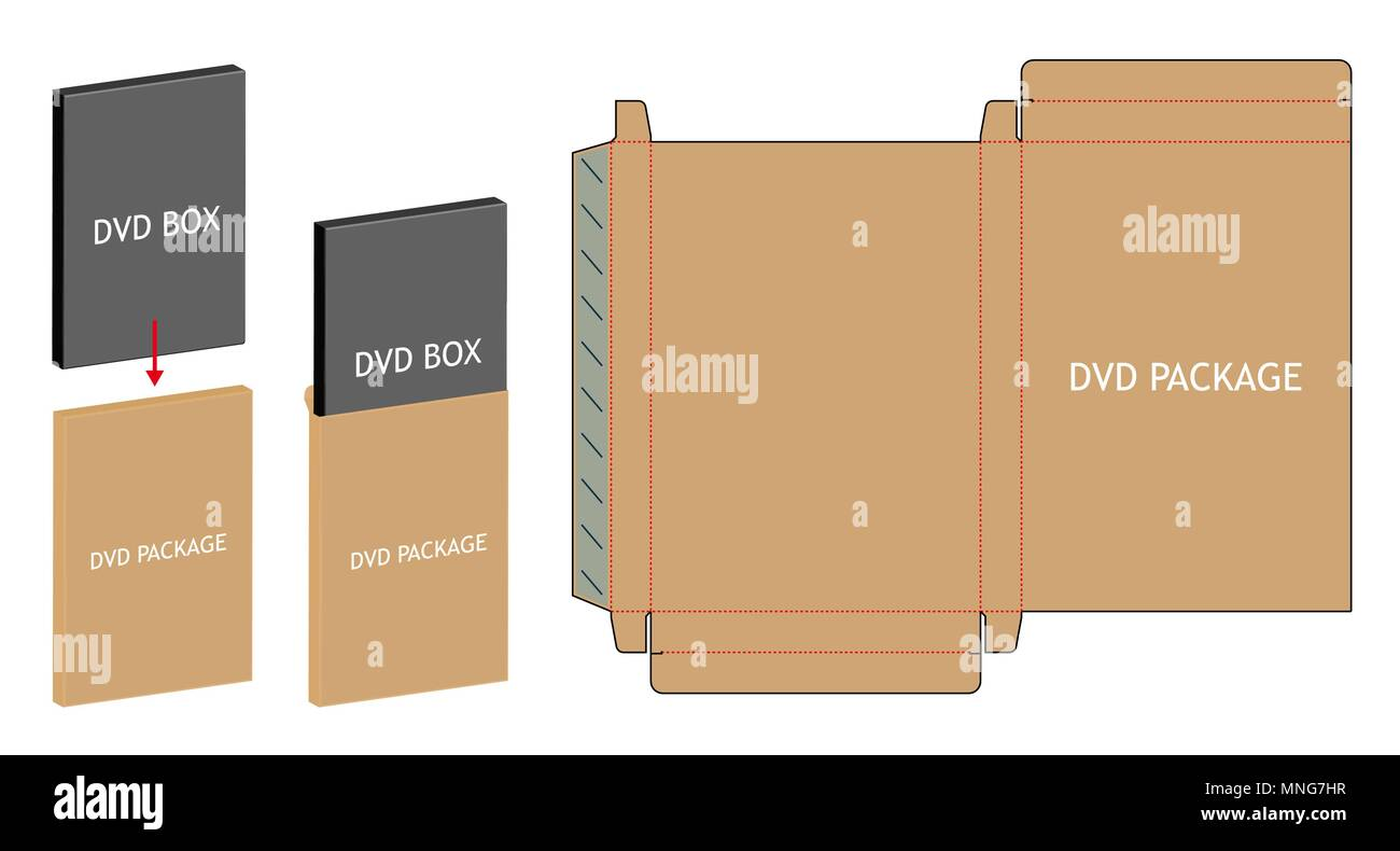 dvd paper packaging box die cut line template stock vector art