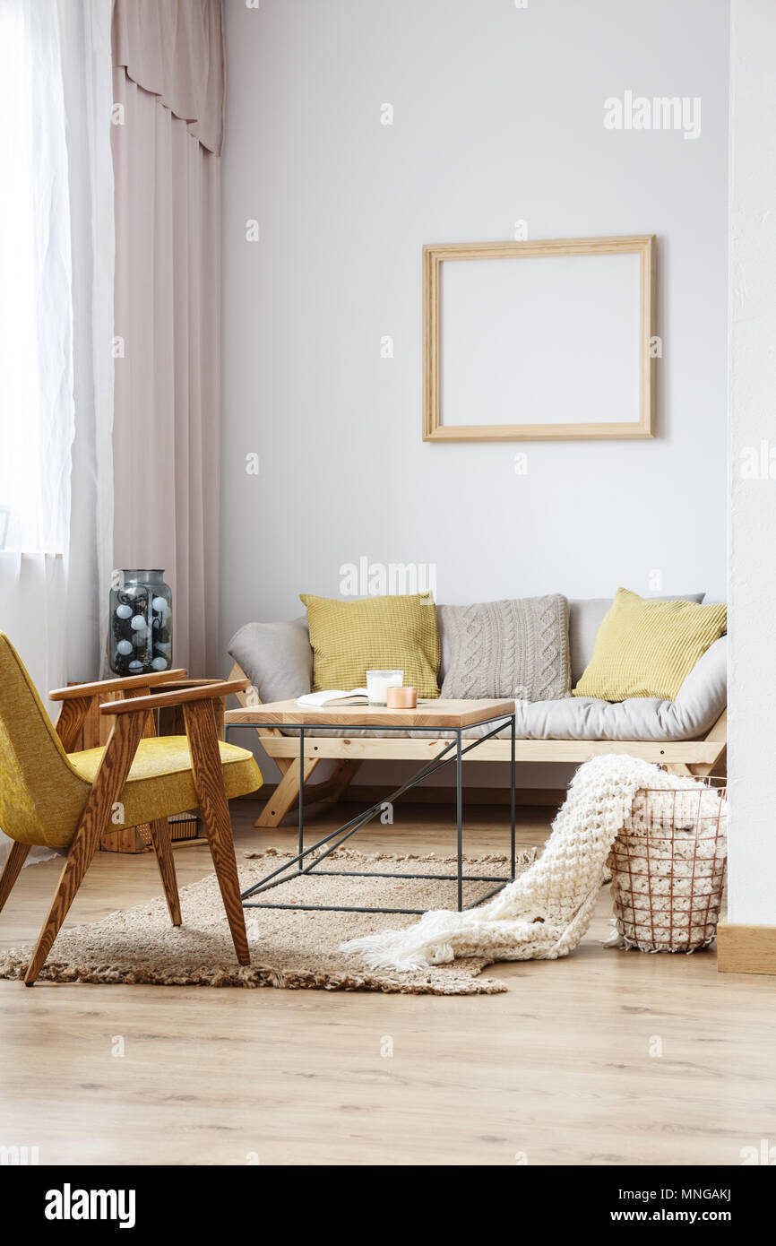 Modern bright living room Farmhouse Beige And Yellow Interior Decor Of Modern Bright Living Room With Sofa Wooden Furniture And Frame Decoration On The White Wall Alamy Beige And Yellow Interior Decor Of Modern Bright Living Room With