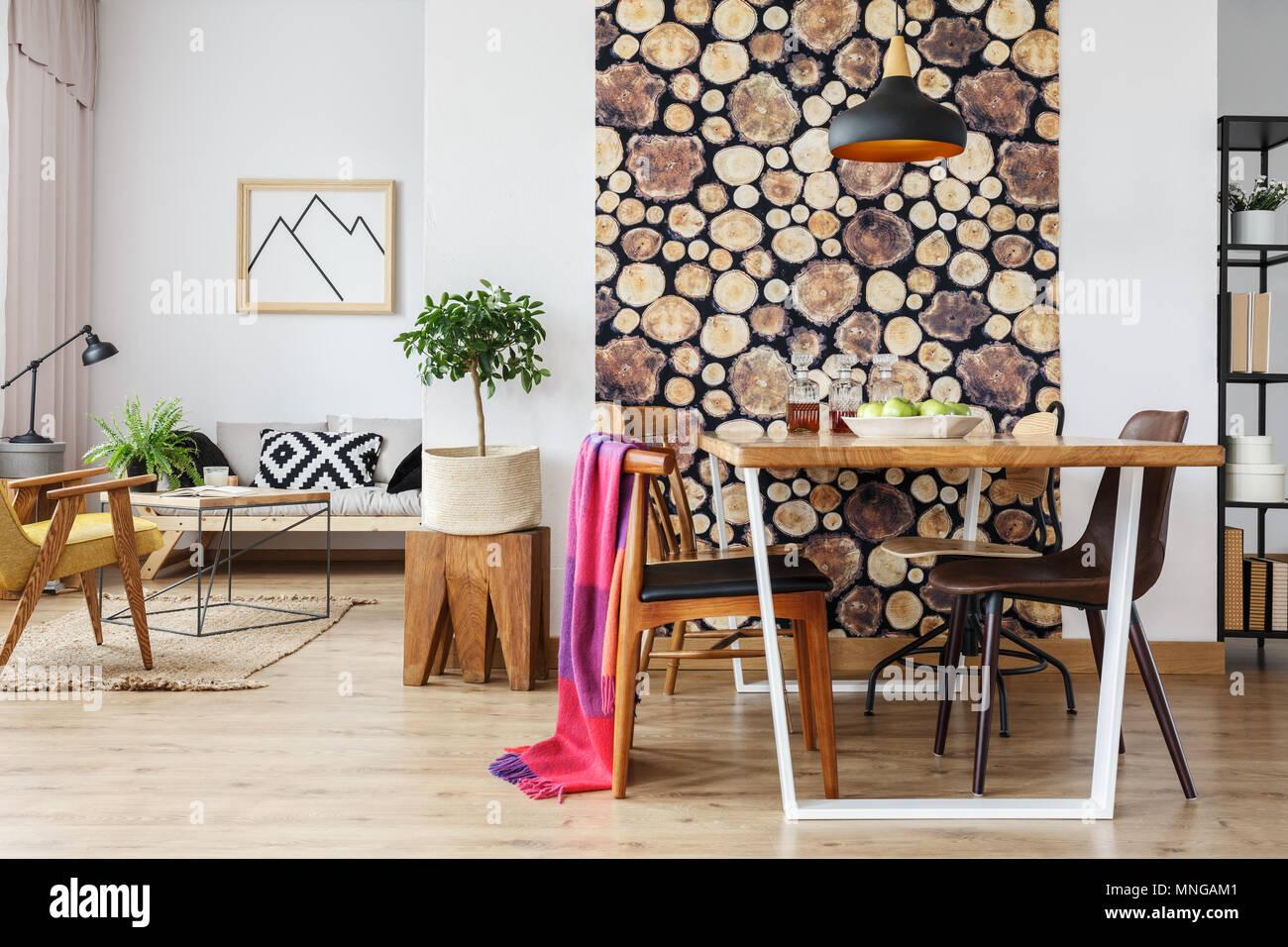 scandinavian open floor plan apartment with winter interior design