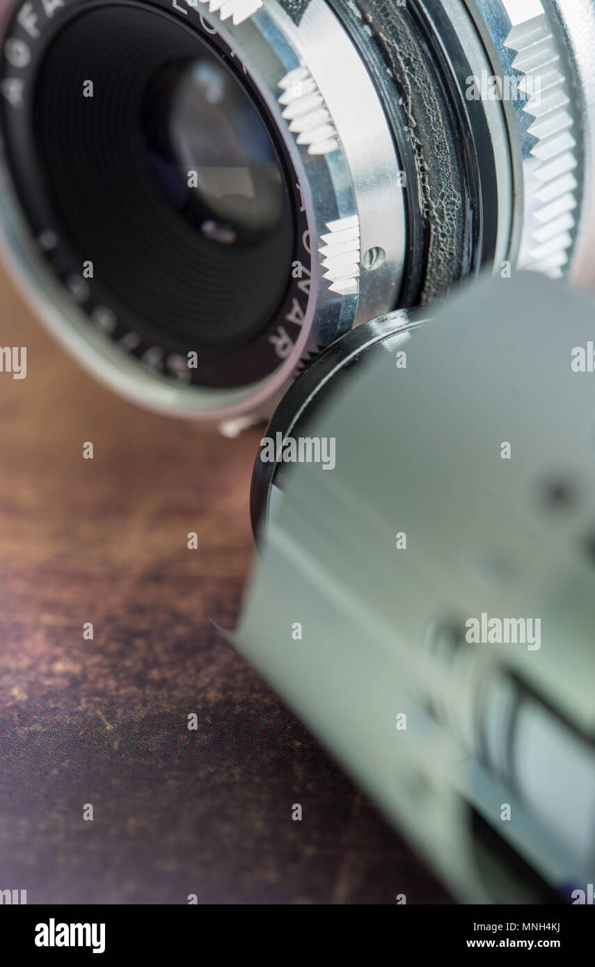 Detail of a vintage camera and film roll - Stock Image