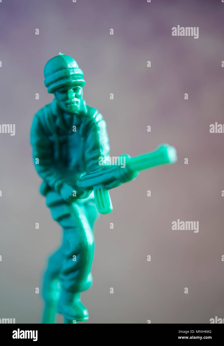 Still life of a plastic toy soldier - Stock Image