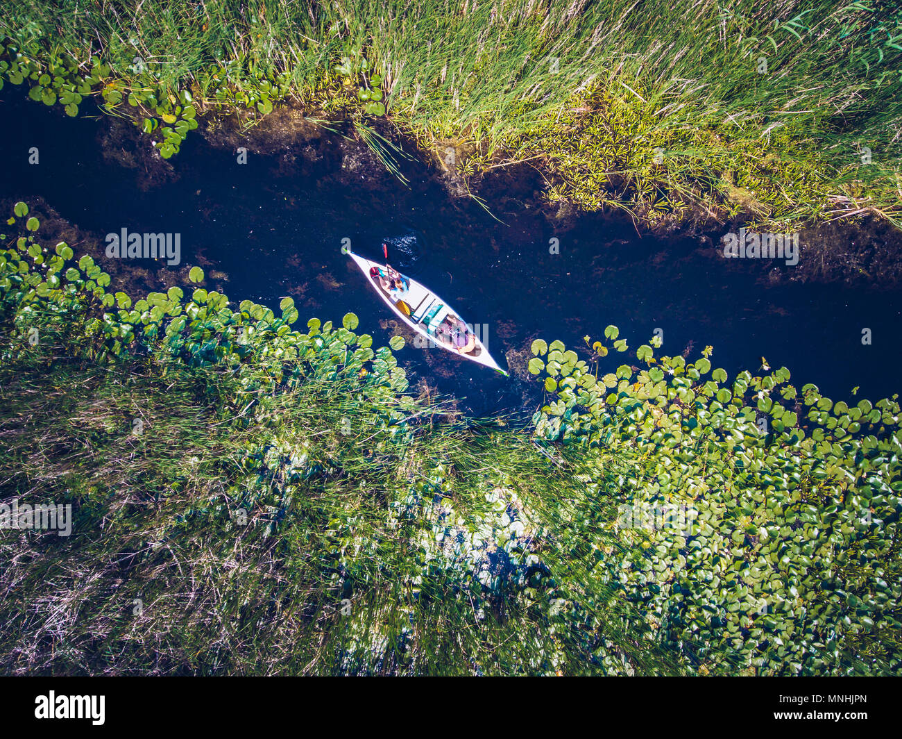 Discovering Danube Delta in a Canoe aerial view - Stock Image