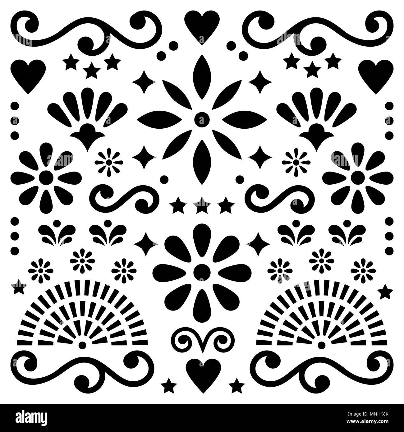 Mexican Folk Art Vector Pattern Black And White Design With Flowers