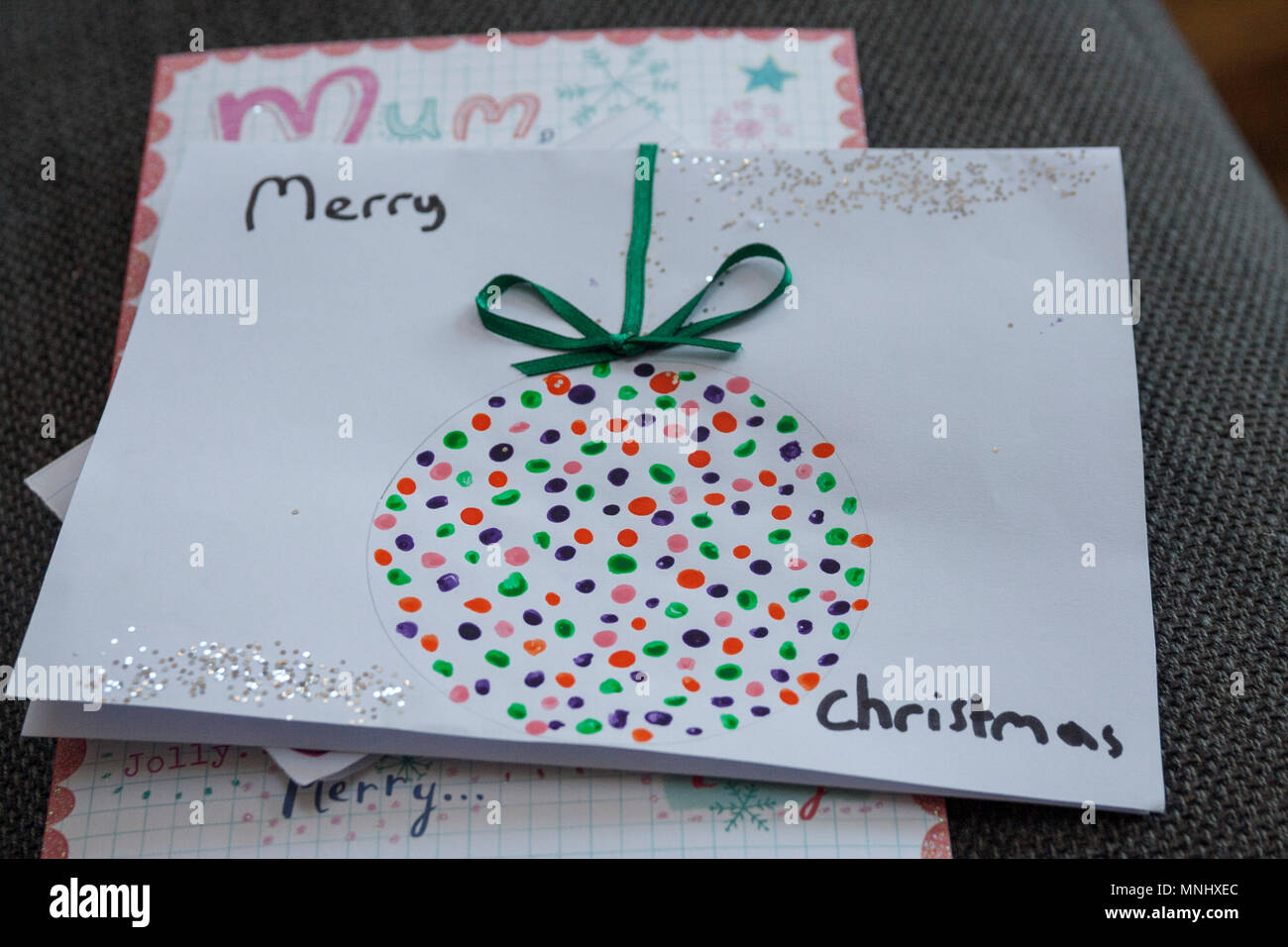 Homemade children child kids christmas card, markers, rubbons ...