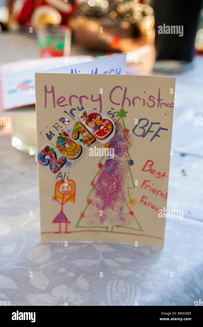 Homemade children child kids christmas card, markers, rubbons ...