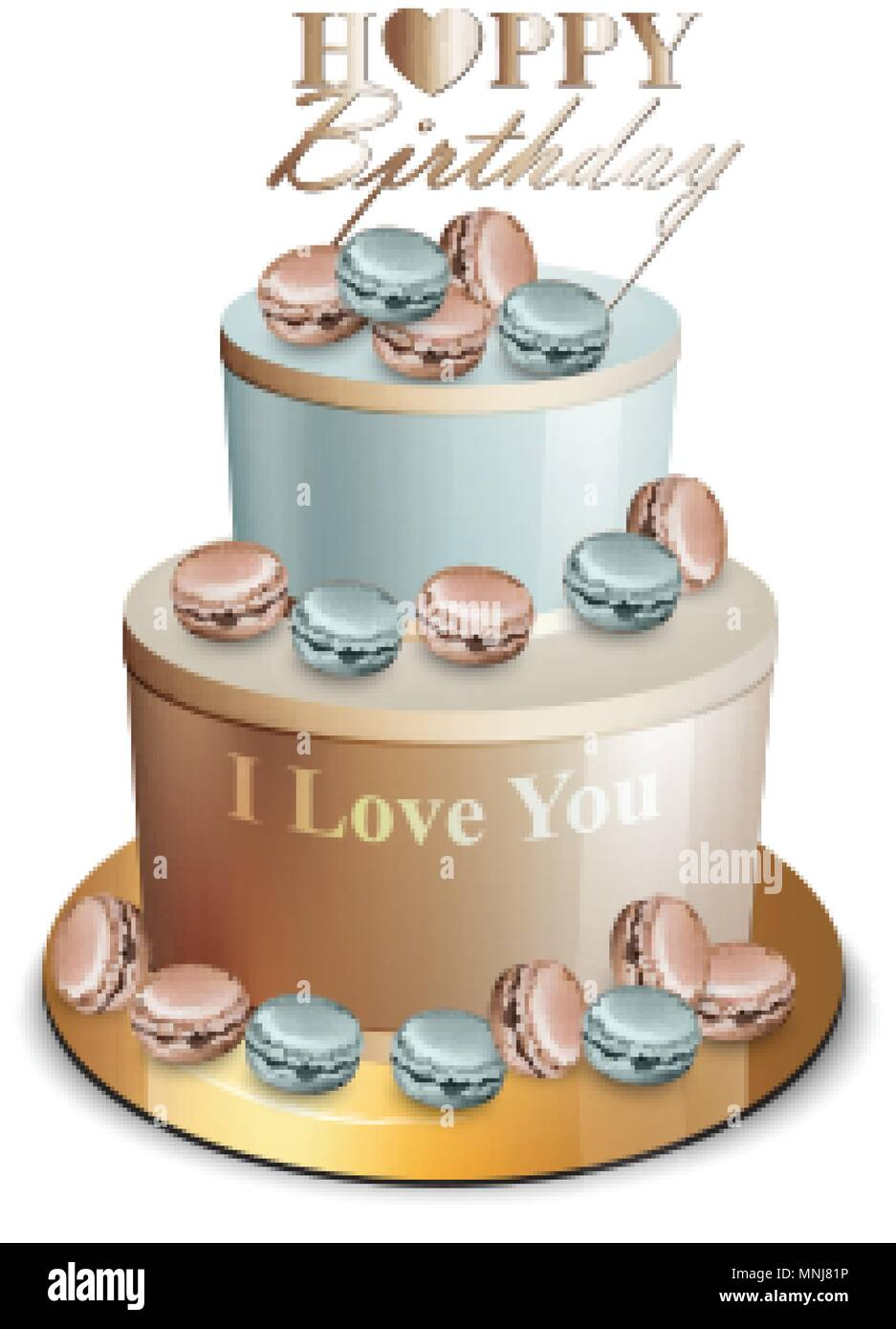 Happy Birthday Cake Vector Realistic Blue And Golden Anniversary