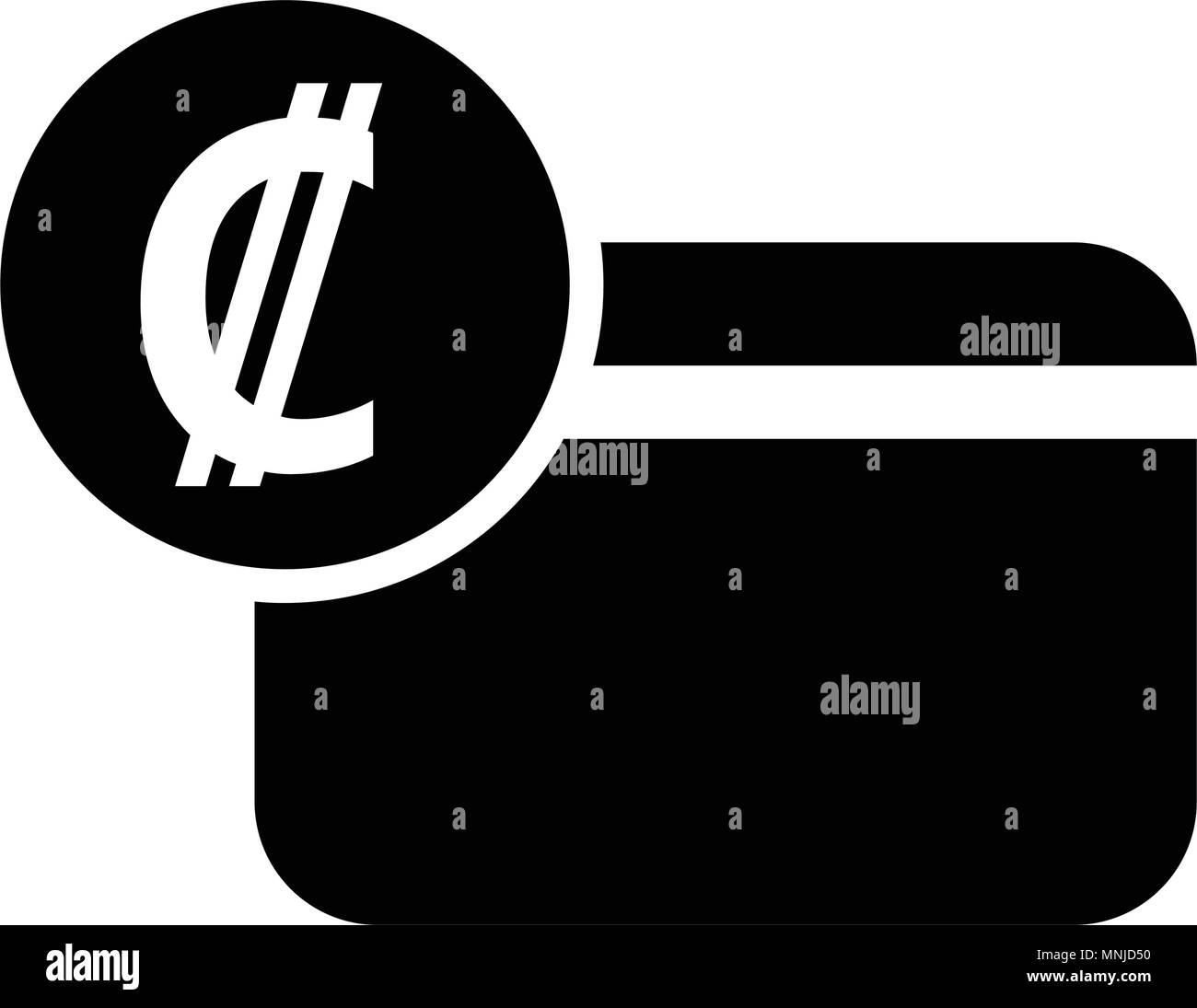 Costa Rica Colon Credit Card Icon Isolated On White Background
