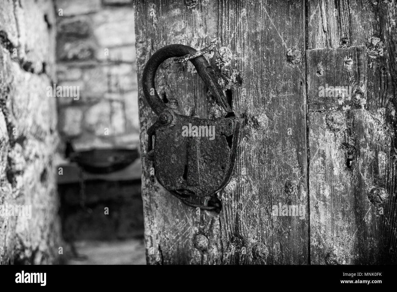 Rusty old padlock - Stock Image