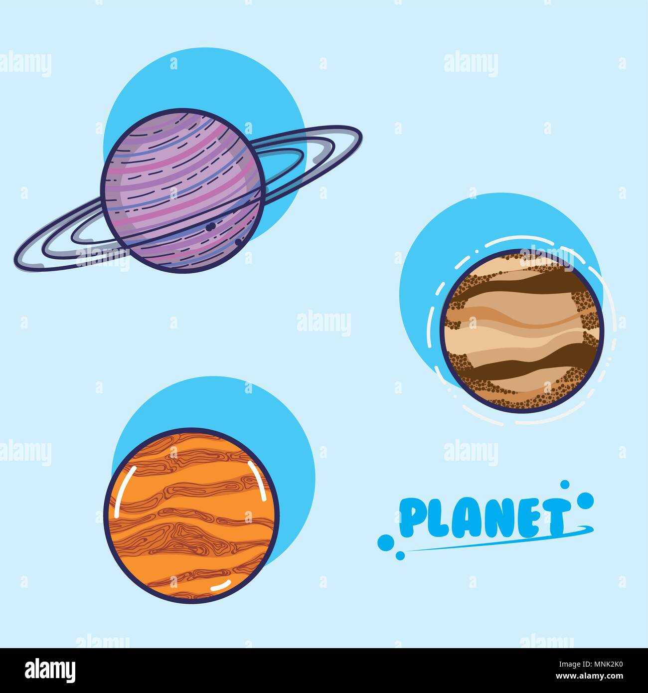 Set of galaxy planets - Stock Image