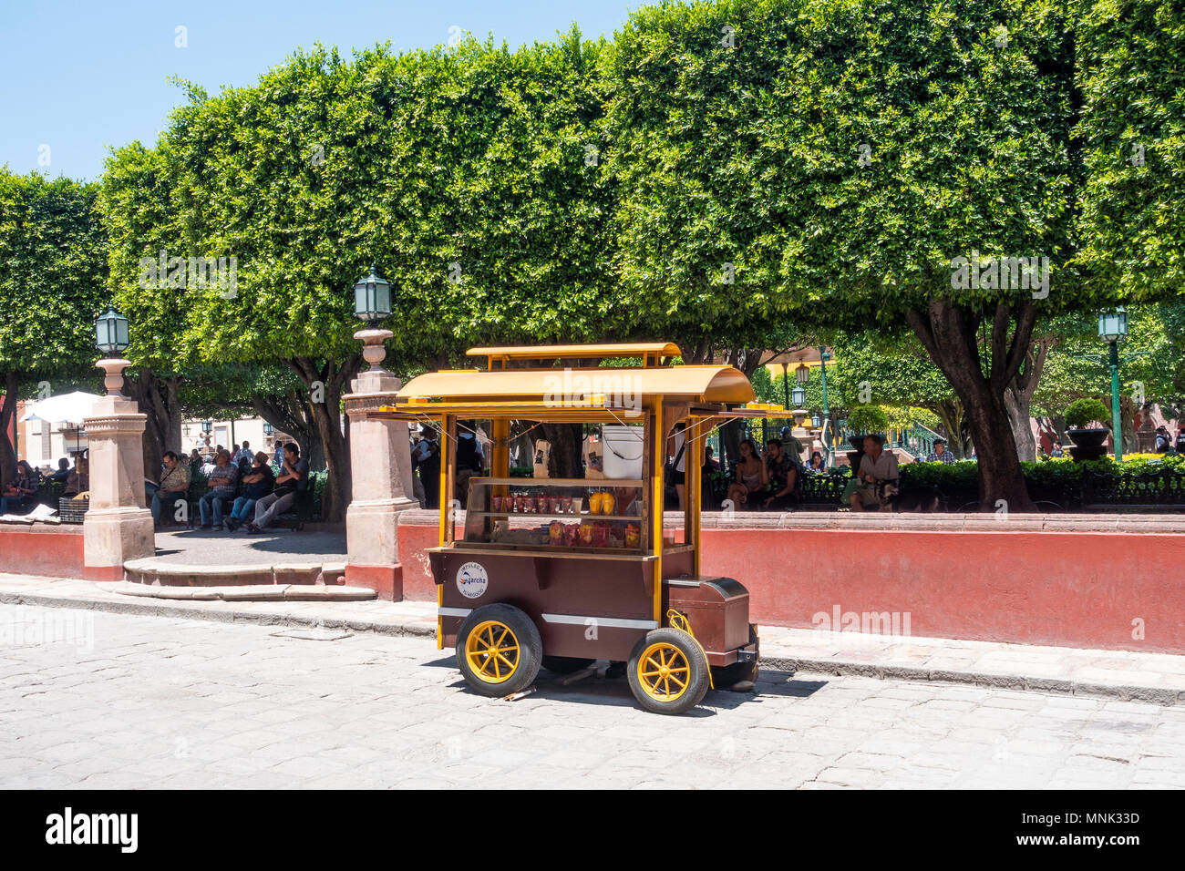 A fresh fruit stand at El Jardin in the center of San Miguel did Allende, Mexico - Stock Image