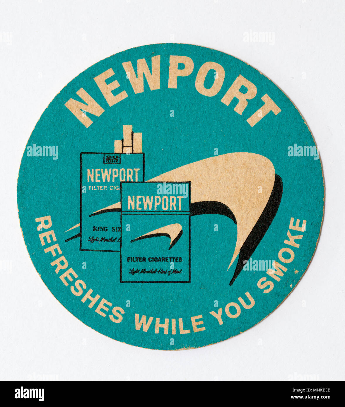 Vintage Beer Mat Advertising Newport Cigarettes Stock Photo