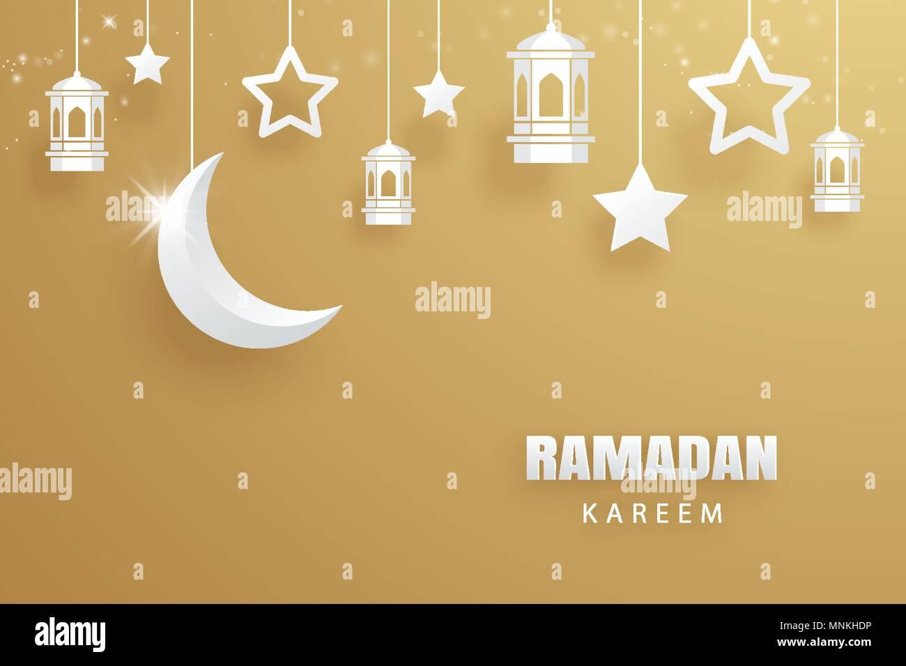 Ramadan Kareem Greeting Card Paper Art Gold Background Eid Mubarak