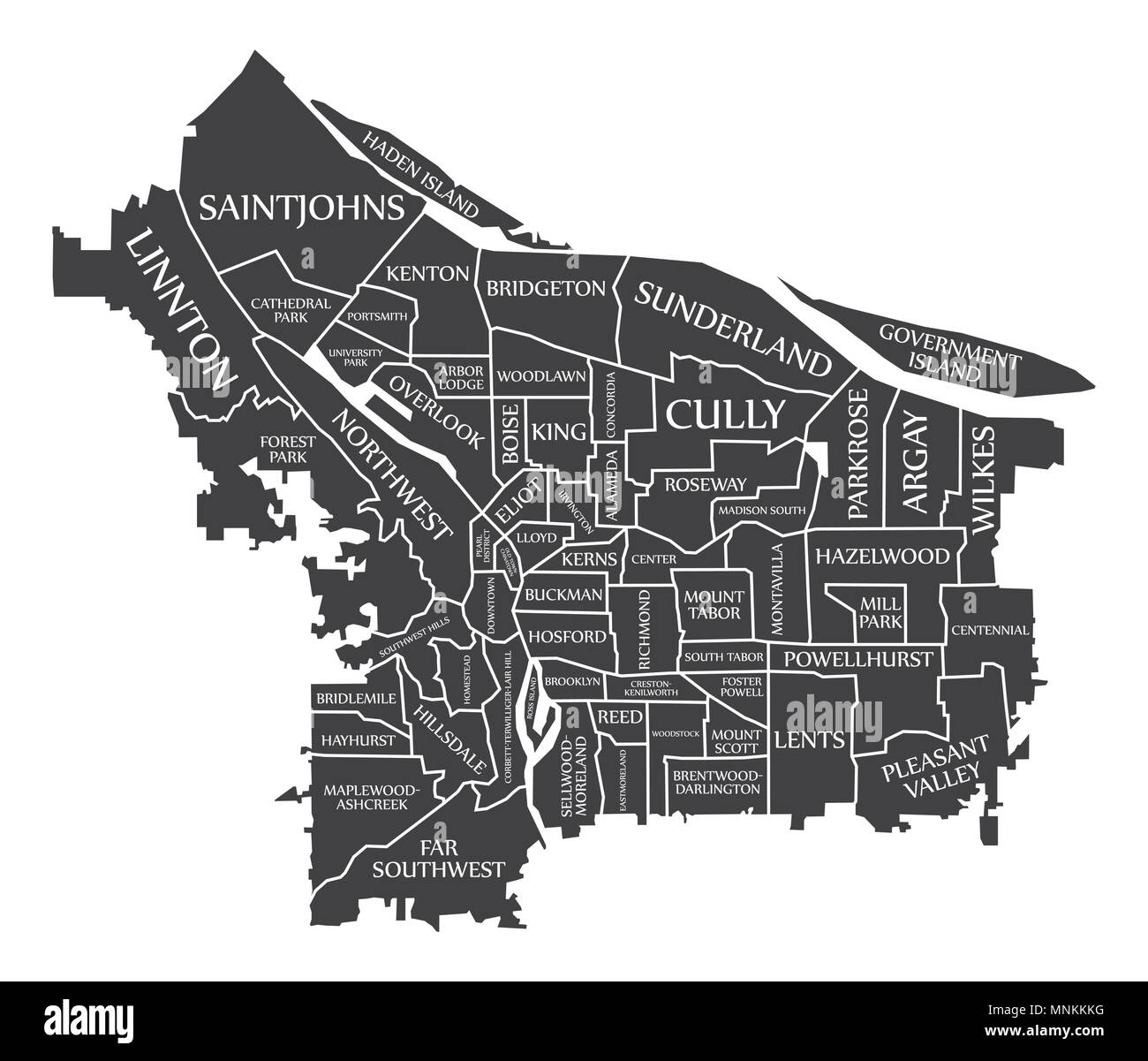 Portland Oregon City Map Usa Labelled Black Illustration Stock