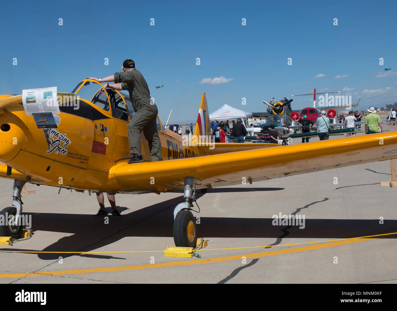 A Crew Member Of The Pt 26 Amazing Grace Watches The Tora Tora Tora Air Show Performance During Luke Days At Luke Air Force Base Ariz March 17 2018