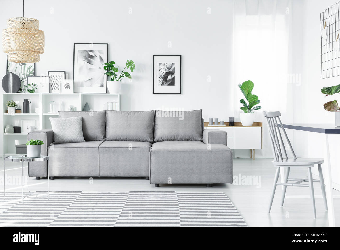 Scandinavian Living Room Interior With A Comfy Corner Sofa
